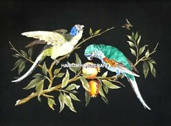 Italian Arts Stone Table Dining Top Marble Parrot Inlay Library Home Decor H5056