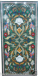 3'x6' Green Marble Multi Inlay Birds Floral Art Dining Table Top Handicraft H436