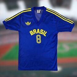 Brazil 1988 Olympic Games Away Soccer Jersey Player Issue Adidas Small '8'