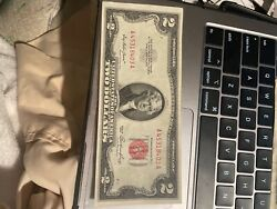 1953 Two Dollar Note Red Seal 2 Bill Us Currency Old Money Crisp Uncirculated