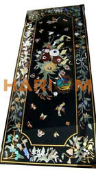 5and039x3and039 Marble Black Center Dining Table Top Multi Floral Inlay Hallway Decor B547