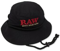 New RAW Rolling Papers SMOKER MANS BLACK BUCKET HAT LARGE King Size $26.99