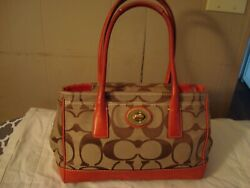 Signature Canvas and Leather Satchel Coach Purse $40.00