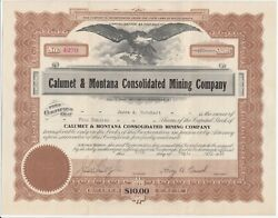 1916 Calumet And Montana Consolidated Mining Company Stock Certificate