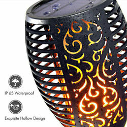 Waterproof 96 Led Round Solar Torch Light Flicker Dancing Flame Lamp Outdoor