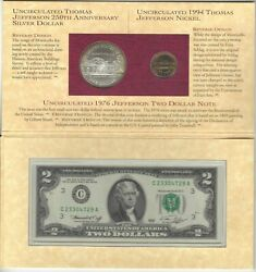 1993 Thomas Jefferson Coinage And Currency Set One Dollar, 5 Cents And 2 Bill