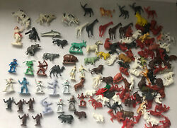 Lot Of 80+ Vintage Plastic Figures- Zoo- Animals- Cowboys- Others- Hong Kong