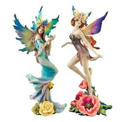 Design Toscano Flower Fairies Of Butterfly Hollow Set Tea Rose And Wild Rose