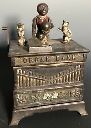 Original Antique Cast Iron Organ Mechanical Bank Toy By Kyser And Rex C. 1882