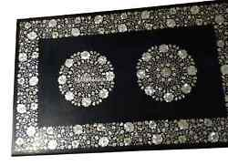 2.5and039x5and039 Black Marble Dining Table Top Mother Of Pearl Inlay Hallway Decor H2701a