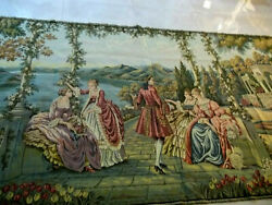 Vintage Dame E Lago Italy Wall Hanging Tapestry 56 X 105'' Size Xl