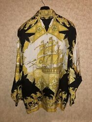 Authentic Vintage Versace Classic V2 Silk Barocco Shirt Size 3 M Free Shipping