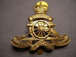 Royal Regiment Of Canadian Artillery Post Wwii Cap Badge Canada Large Brass