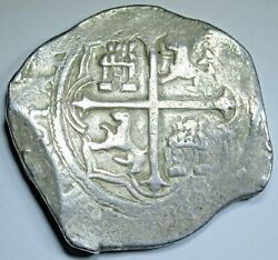 1599-1608 Mexico Silver 8 Reales 1500and039s-1600and039s Spanish Colonial Pirate Cob Coin