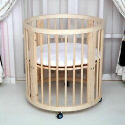 Round Safe Baby Bed Wood Infant Cradle Multifunction Comfortable Newborn Cribs