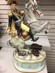 Large Colorful German Porcelain Napoleon And Horse 28 Tall Very Heavy 52 Lbs
