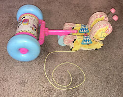 Vtg 1962 Fisher Price Pull Toy Horses Musical Chime Wood 60s Rare Vintage