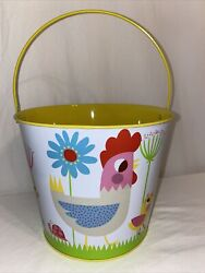 Target country farmhouse rooster chicken tin metal bucket bright amp; colorful 8x6