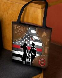 Firefighter Love Firefighter Wife Valentine Basketweave Tote Bags $26.99