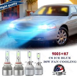 4x 36w H7+9005 Led Headlight Hi/lo Beam Combo 8000k For Lincoln Town Car 03-11