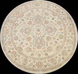 Floral Classic Peshawar Oriental Area Rug Hand-knotted Wool Carpet 8and039x8and039 Round