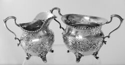And Co Sterling Silver Sugar And Creamer With Beautiful Floral Design No Mo