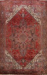 10and039x13and039 Vintage Heriz Geometric Hand-knotted Area Rug Wool Oriental Large Carpet