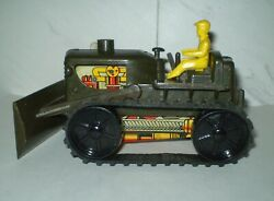 Marx L7 M7 Vintage Military Green Windup Tractor Bulldozer Complete Attic Find