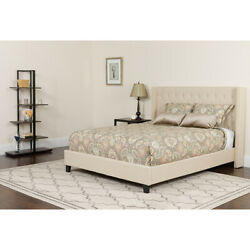 Twin Size Tufted Beige Fabric Platform Bed With Accent Nail Trim And Mattress