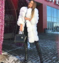 Best Selling Vintage Square Round Real Fox Fur Coats With Detachable Fur Sleeve