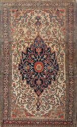 Pre-1900 Vegetable Dye Antique Farahan Sarouk Area Rug Hand-knotted Wool 4'x7'