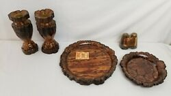 Vintage Chrysanthemum Wood Plates Bowl Salt And Pepper Shakers Candle Holders Lot