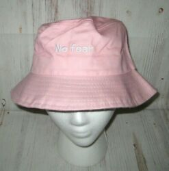quot;NO FEARquot; Pink Bucket Sun Hat with Removeable Transparent Face Guard Visor *NEW* $11.85