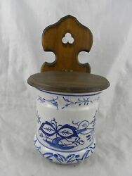 Large Vintage Porcelain Flow Blue Salt Box With Wooden Wall Mount And Hinged Lid