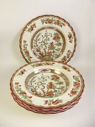 5 Copeland Spode India Tree Rimmed Soup Bowls Old Mark Antique Ia5
