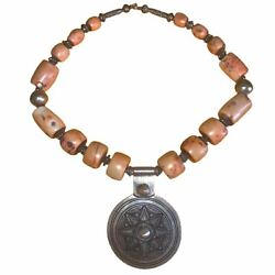 Antique Angel Skin Shell And Silver Tuareg Pendant Necklace - Handmade Morocco