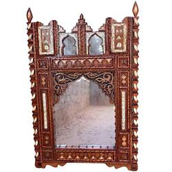 Large Moroccan Berber Mirror - Hand-carved Wood With Camel Bone - Handmade