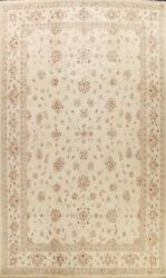 Vegetable Dye Geometric Floral Peshawar Oriental Area Rug Ivory Handmade 10and039x14and039
