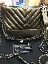 Chanel Gabrielle Gold Metallic Calfskin Quilted Hobo Small Shoulder Handbag $5000.00