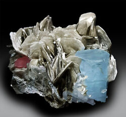 Aquamarine Crystal With Pink Apatite And Mica Mineral Specimen - 261 G , 8873mm