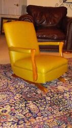 Vintage Child's Heavy Wood And Yellow Platform Spring Rocker Rocking Chair