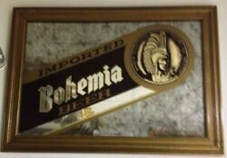 Bohemia Imported Beer Mirror Man Cave Rare Sign Bar Advertising 21 X 15 Vintage