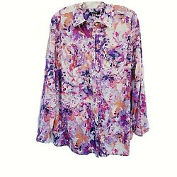 Relativity Button Front Blouse Womens Size 2x Mosaic Look Floral Design Roll Tab