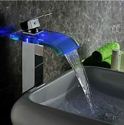 Bathroom Led 3 Color Spout Sink Faucet Chrome Glass Waterfall Basin Mixer Tap