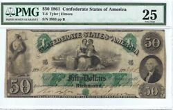 Confederate States Of America Cr.t06 50 B Sept 10 1861 Pmg 25 Vf+