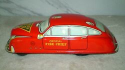 Vintage Marx Fire Chief Friction Car 1950s Tin Toy High Grade From Attic Find