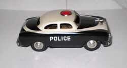 Vintage Japanese Tin Friction-siren Toy Police Car S-6888 Bandw From Attic Find