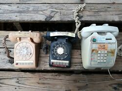 Lot Of 3 2-old Police Dial Desk Phones, 1-pay For The Prisoners To Use-slot .