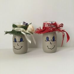 Hand Painted Pint Mason Jar Votive Candle Holder Set/2 Face And Country Hat