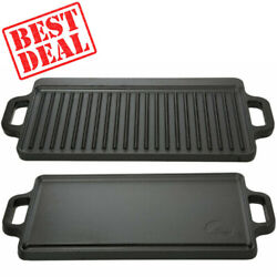 Reversible Cast Iron Grill Griddle Pan Ribbed/flat Hamburger Steak Stove Top Fry
